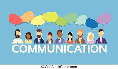 grupp, nätverk, affärsfolk, kommunikation, pratstund, social...