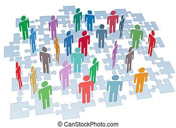 grupp, nätverk, puzzlen lappar, anslutning, mänskliga resurser