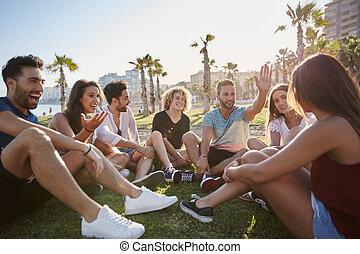 grupp, sittande, talande, utanför, cirkel, vänner