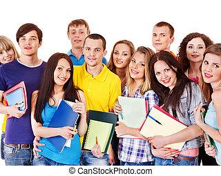 grupp, student, med, anteckningsbok, isolated.