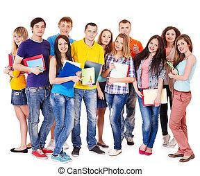 grupp, student, med, anteckningsbok, .