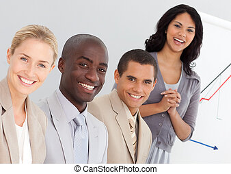 grupp, ung, affärsfolk