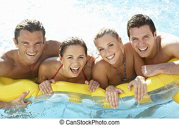 grupp, ung, nöje, vänner, ha, slå samman