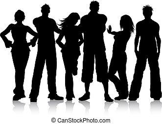 grupp, ungdomar