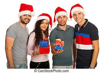 grupp, vänner, jul