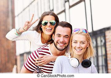 grupp, vänner, lycklig