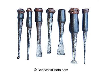 grupp, verktyg, gammal, snickare