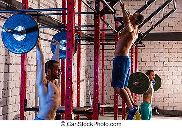grupp, vikt, gymnastiksal, barbell, tyngdlyftning, lyftande