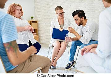 gruppe, öffnung, junger, auf, sitzung, therapie, mann