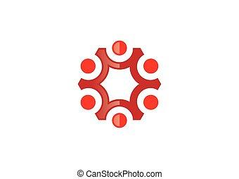 gruppe, abstrakt, anschluss, vektor, logo, kreis