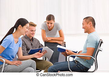 Gruppe, arbeitende, Buero, Leute, zusammen, Geschaeftswelt, Besprechen