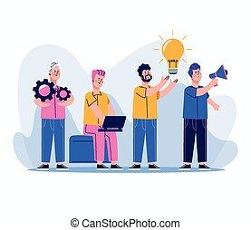 gruppe, arbeiter, charaktere, geschäftsmänner
