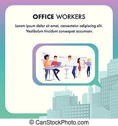 gruppe, arbejder, folk branche, proces, hold