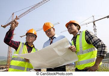 gruppe, architekt, diskussion, front, von, a, baustelle
