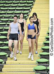gruppe, athleten, junger