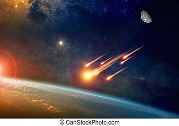 gruppe, brennender, asteroiden, planet, nähert, explodieren, erde