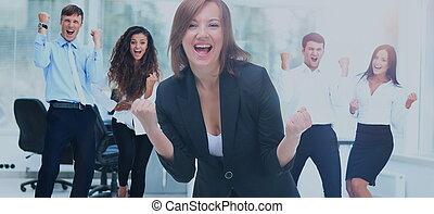 gruppe, buero, geschaeftswelt, erfolgreich, porträt, glücklich