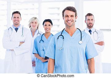 gruppe, buero, medizin, sicher, doktoren, glücklich