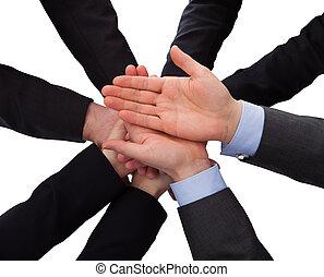 Gruppe,  businesspeople, Hände