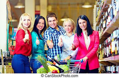 gruppe, daumen, leute, auf, supermarkt, glücklich