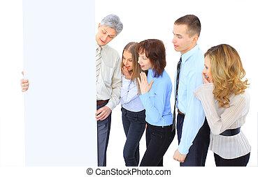 gruppe, diskuter, forretningsmænd