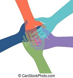 gruppe, farverig, hænder