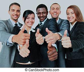 gruppe, firma, hen, isoleret, oppe, tommelfingre, baggrund, hvid