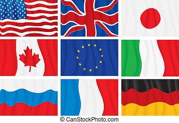 gruppe, flaggen, g8