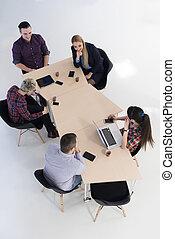 gruppe, folk branche, antenne, møde, udsigter