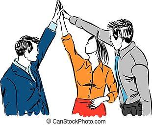 gruppe, folk branche, dårlige, arbejde hold