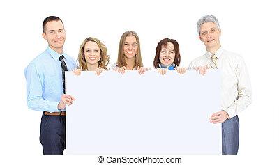 gruppe folk branche, holde, en, banner, reklame., isoleret, på, den, hvid