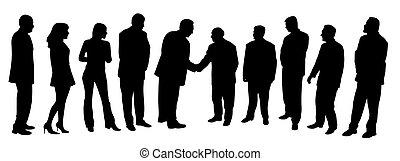 gruppe, folk branche, møde, hænder ryste