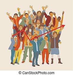 gruppe, folk branche, stor, chart., hold, glade