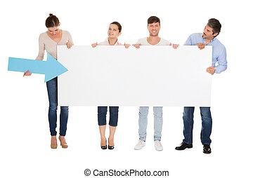 gruppe folk, holde, placard
