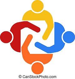 gruppe, folk, illustration, fire, vektor, teamwork