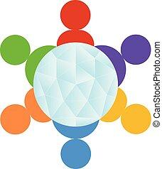 gruppe, folk, klode, omgivelser, vektor, teamwork, logo