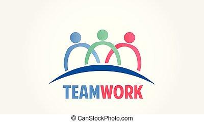 gruppe, folk, samfund, vektor, teamwork, logo