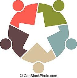 gruppe, folk, teamwork, logo.