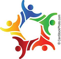 gruppe, folk, vinder, konstruktion, 4, logo