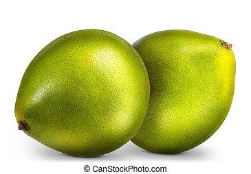 gruppe, freigestellt, pomelo, fruechte, grün weiß