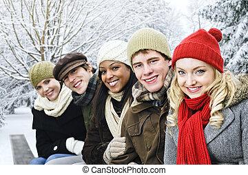 gruppe freunde, draußen, in, winter