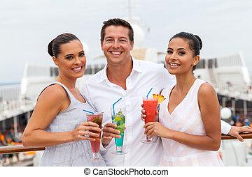 gruppe freunde, trinken, cocktails
