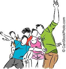 Gruppe,  friends, abbildung, glücklich