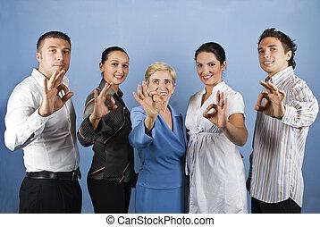 gruppe geschäfts bevölkert, ausstellung, stimmen zeichen