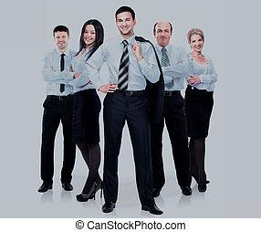 gruppe geschäfts bevölkert, in, a, weißes hemd, freigestellt, weiß, hintergrund