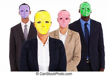 gruppe geschäfts bevölkert, mit, maske
