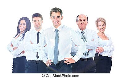 gruppe, geschäftsmenschen, freigestellt, hintergrund., team., weißes