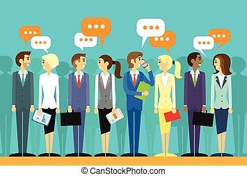 gruppe, geschäftsmenschen, kommunikation, sprechende , unterhaltung, sozial, besprechen