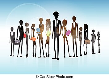 Gruppe, Geschaeftswelt, Leute, Mannschaft,  silhouette, geschäftsführung