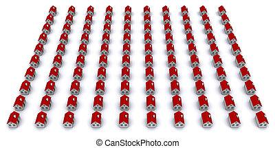 gruppe, häusser, perspektive, ansicht, rotes , roof.